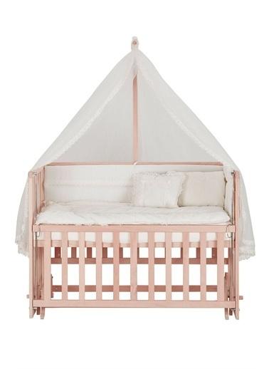 Babycom Naturel Ahşap Boyasız Anne Yanı Beşik 60x120 4 Kademeli  + Kahve Yıldızlı Uyku Seti Krem